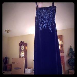 Navy blue velvet full length dress